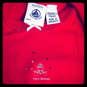 Petit bateau cotton long sleeve onesie Christmas